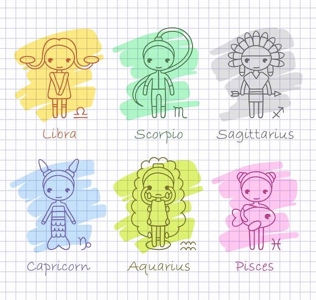 Horóscopo del zodiaco con dibujar niñas set