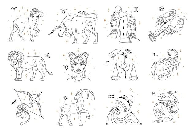 Horóscopo zodiaco signos constelaciones símbolos león piscis capricornio libra cáncer vector astrológico