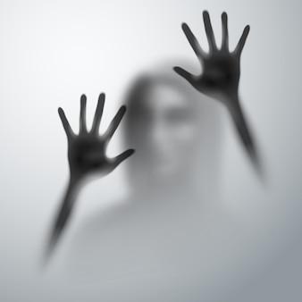 Horror silueta borrosa manos humanas