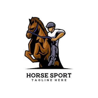 Horse sport logo jockey carrera de caballos paseo a caballo evento de hierba