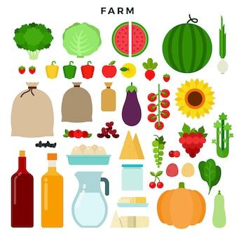 Hortalizas agrícolas y productos lácteos