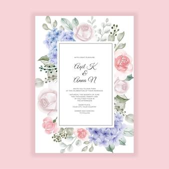 Hortensia azul con plantilla de invitación de boda rosa