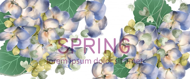 Hortensia primavera banner acuarela