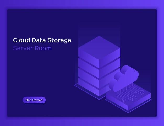 Hospedaje con almacenamiento de datos en la nube y sala de servidores. almacenamiento de archivos de sala de servidores con nube. ilustración moderna en estilo isométrico