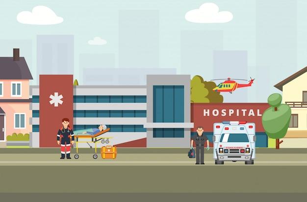 Hospital ambulancia banner, ilustración. el carácter del trabajador clínico llevó al paciente a la camilla.