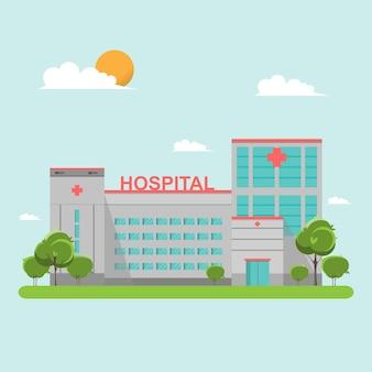 Hospital edificio estilo plano en el cielo azul