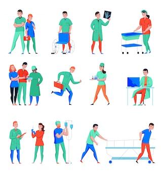 Hospital enfermera médico cirujano asistente de laboratorio médico personal de cuidados intensivos de emergencia personajes planos conjunto aislado