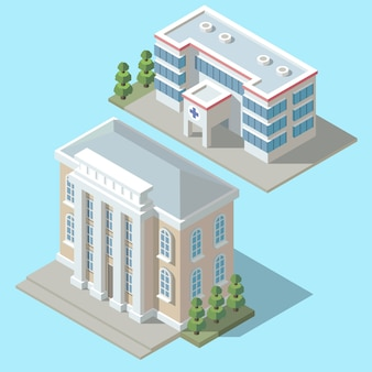 Hospital isométrico 3d, edificio de la ambulancia con los árboles verdes. clínica de dibujos animados exterior