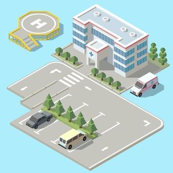 Hospital isométrico 3d con estacionamiento. pista de aterrizaje del helicóptero para el vehículo de la ambulancia, avión.