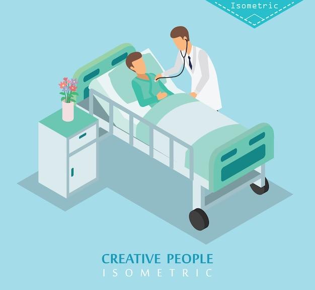 Hospital isométrico y conjunto de cuidado médico a