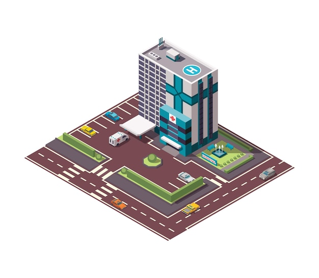 Hospital isométrico o edificio de ambulancias.