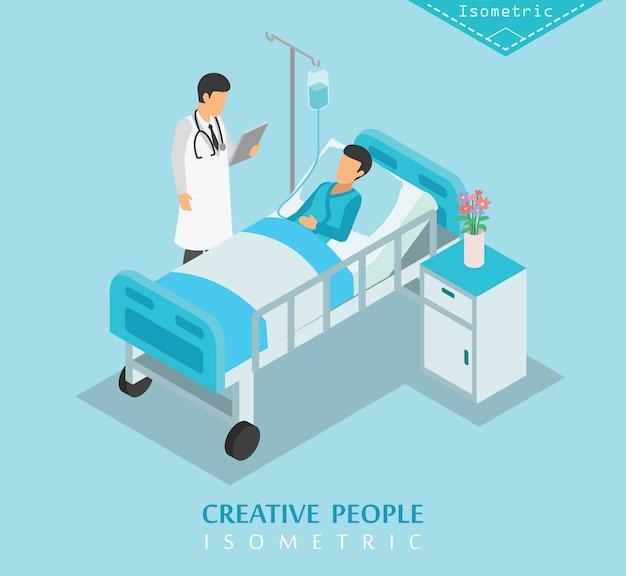 Hospital isométrico y conjunto de cuidado médico c