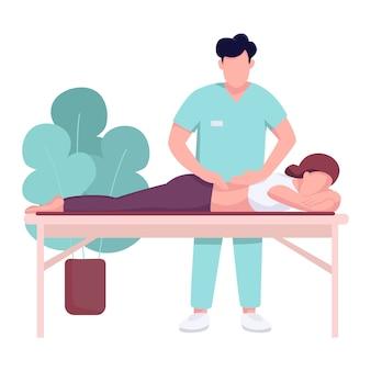 Hospital masajista y paciente color plano personaje sin rostro. terapia de dolor de espalda, rehabilitación de lesiones medulares. ilustración de dibujos animados de masaje quiropráctico aislado para web y animación
