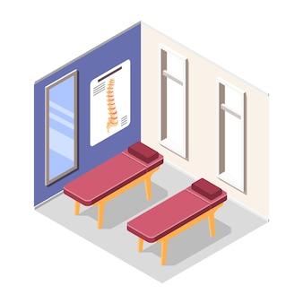 Hospital de ortopedia con equipo e ilustración de tratamiento de lesiones.