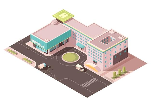 Hospital con señalización, plataforma de helicóptero y equipo de ventilación en el techo, infraestructura vial, transporte.