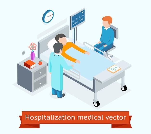 Hospitalización médico 3d isométrico concepto paciente cama de hospital. medicina y salud, asistencia sanitaria y personal médico