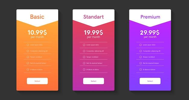 Hosting planes de columnas. cajas web de lista de precios. 3 tablas de interfaz de usuario de tarrifs para sitio web.
