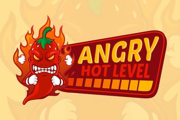 Hot chili con una ilustración de expresión enojada