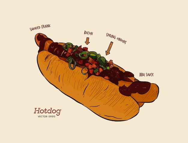 Hot dog, dibujo vectorial, comida rápida.