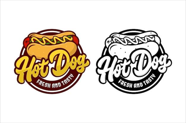 Hot dog fresco y sabroso diseño logo
