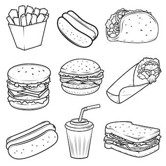 Hot dog, hamburguesa, taco, sandwich, burrito. conjunto de iconos de comida rápida sobre fondo blanco. elementos para logotipo, etiqueta, emblema, signo, marca.