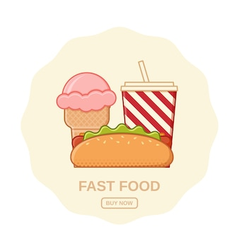 Hot dog, helados y refrescos. . iconos de comida rápida establecer comida poco saludable en el estilo de arte de línea plana. elementos de cocina coloridos basura. plantilla de compras en línea. esquema de bocadillos de restaurante.