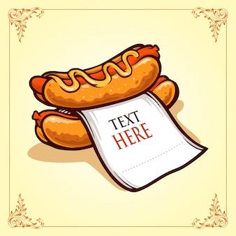 Hot dog con ilustraciones de papel
