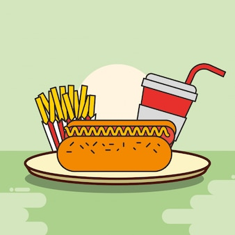 Hot dog papas fritas y soda de comida rápida