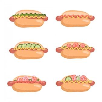 Hot dogs set con aperitivos listos para comer con diferentes ingredientes aislados sobre fondo blanco. elemento de colección icono comida rápida deliciosa comida rápida estadounidense con rellenos. ilustración plana