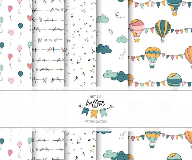 Hotairballon doodle vector de patrones sin fisuras.