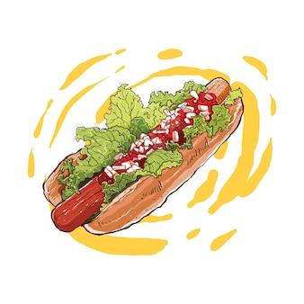 Hotdog dibujado a mano con relleno de carne y verduras.