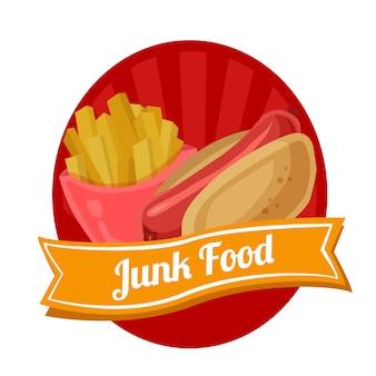 Hotdog papas fritas etiqueta de comida chatarra