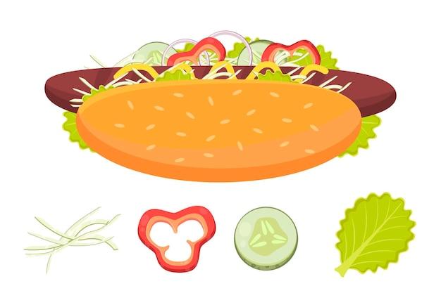 Hotdog con salchicha y verduras ilustración de vector plano de hot dog e ingredientes comida rápida