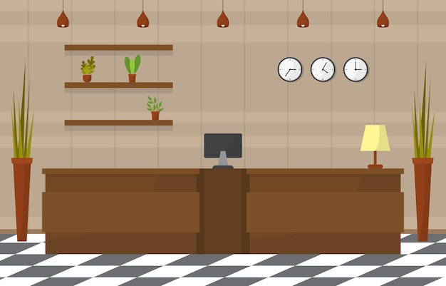 Hotel check in recepción mostrador lobby habitación muebles interior ilustración