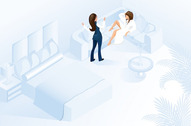 Hotel gerente mujer bienvenido cliente en habitación moderna