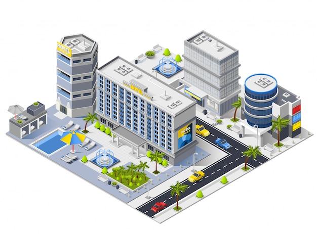 Hotel de lujo edificios composición isométrica