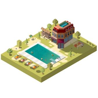 Hotel resort con piscina isométrica.