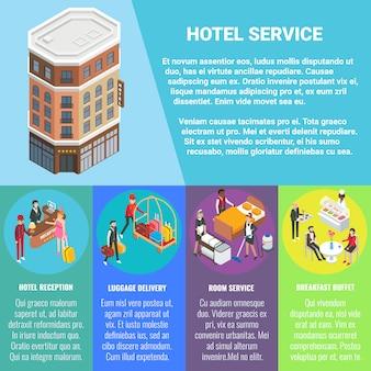 Hotel servicio concepto plano isométrico banner