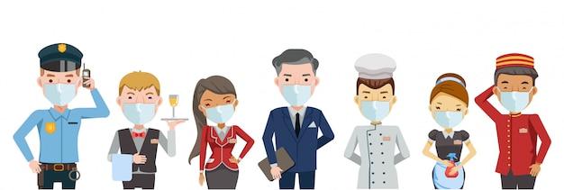 Hotel trabajador servicio grupo de hotel. máscara del personal del hotel. juego de caracteres trabajo en equipo. nuevo concepto normal. coronavirus relacionado