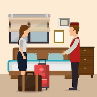 Hotel trabajadores avatares personajes