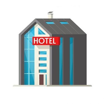 Hotel vector edificio ilustración de dibujos animados plana aislado