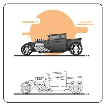 Hotrod negro fácil editable