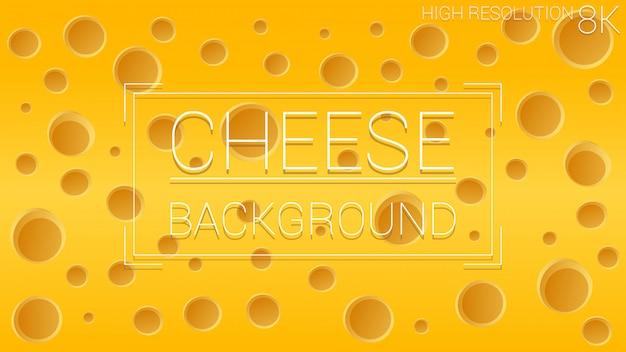 Hoyos de queso alimento. fondo amarillo de textura dinámica. composición de forma colorida.