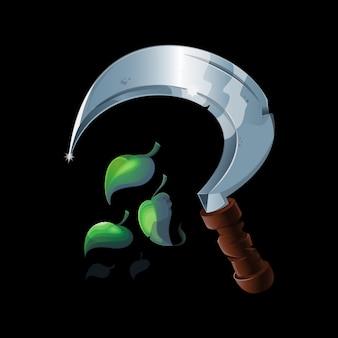 Hoz mágica de druida vieja para cortar hierba y plantas para alquimia o poción química o elixir. herramienta antigua. icono de juego de ilustración realista, elemento. aislado en el fondo.