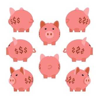 Hucha. conjunto de las cajas de dinero alcancía
