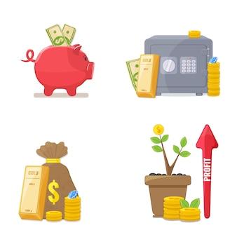 Hucha con dinero. concepto de ahorro de dinero. ilustración