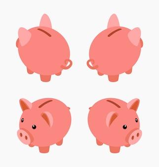 Hucha isométrica. conjunto de las cajas de dinero alcancía