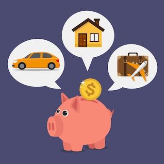 Hucha con moneda de un dólar, soñando con ahorrar para vacaciones, automóvil y casa