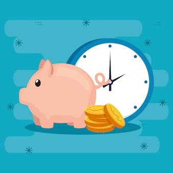 Hucha con monedas y reloj