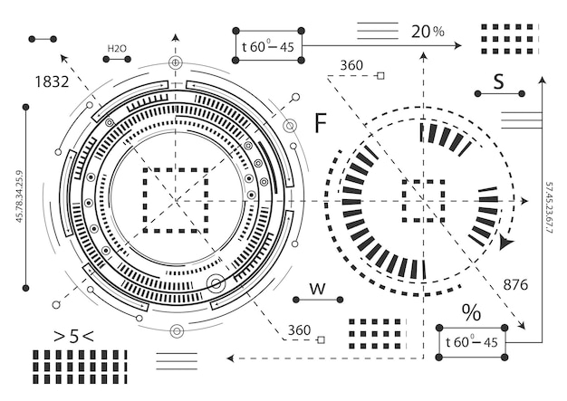 Hud futurista. interfaz electrónica del futuro.